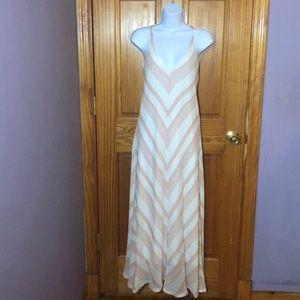 Gibson Latimer Pink/White Striped Maxi Dress